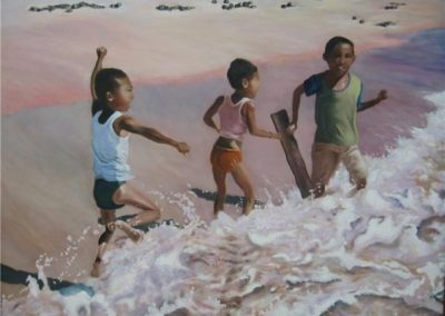 Wendy Rolt, Boys in Bali, 51 x 84cm, Acrylic on Paper