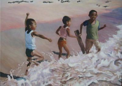 Boys in Bali, 51 x 84cm, Acrylic on Paper