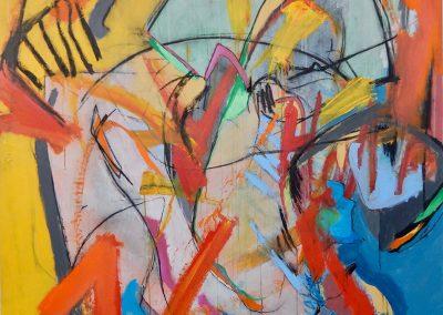 Chaos in Colour, 147 x 152cm, Acrylic on Canvas