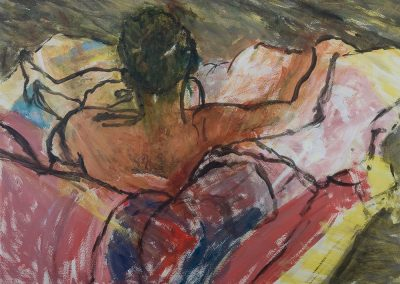 Wendy Rolt, Nude Back II, 59 x 84cm, Acrylic on Paper, SOLD