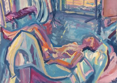 Wendy Rolt, Reclining Nude I, 59 x 84cm, Acrylic on Paper, SOLD
