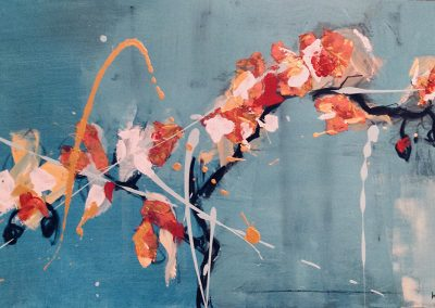 Flowers2 - 40 x 60cm. Acrylic and charcoal on board.