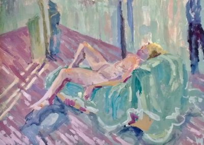 Wendy Rolt, Reclining Nude II, 59 x 84cm, Acrylic on Paper