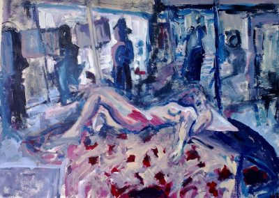 Life Study in Purple, 51 x 84cm, Acrylic on Paper