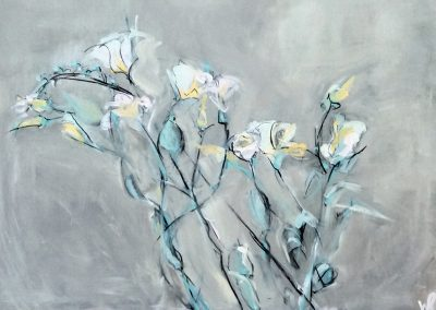 Flowers 5 - 40 x 60cm. Acrylic and charcoal on board.