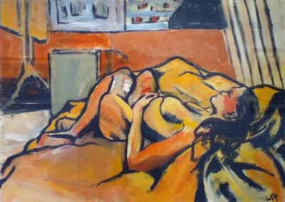 Wendy Rolt, Life Study in Orange, 51 x x84cm, Acrylic on Paper