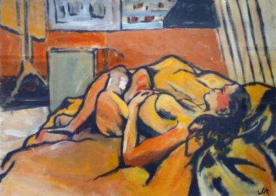 Life Study in Orange, 51 x x84cm, Acrylic on Paper