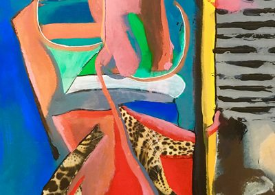 Walls & borders - 71x40cm. Acrylic and collage on board.