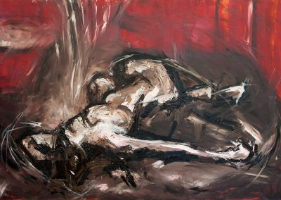 Wendy Rolt, Red Nude, 121cm x 91cm, Oil on Canvas