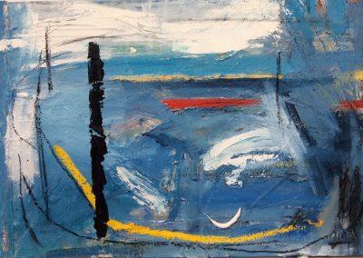 Cornish Landscape - 60x92cm. Oil, acrylic, paper on canvas. SOLD.