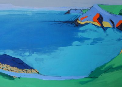 Wendy Rolt, Lantic Bay, Cornish Coast 6, 152 x 76cm, Oil & paper on Canvas