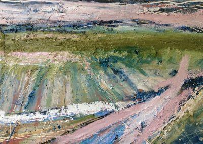Wendy Rolt, Norfolk Landscape - 76x122cm. Oil, paper, acrylic on canvas.