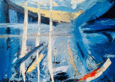 Fowey River, Riverscape 1, 90 x 117cm, Oil on board, SOLD