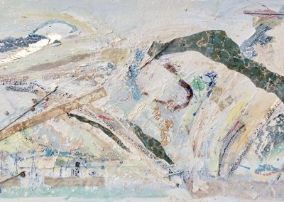 Wendy Rolt, Sussex Landscape 1 - 122x60cm. Oil, paper, pencil on board.