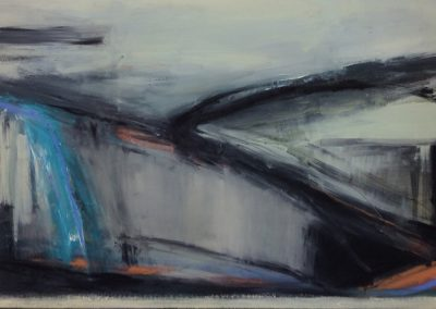 Wendy Rolt, Sussex Landscape 4 - 76x152cm. Oil on canvas.
