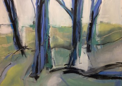Wendy Rolt, Woodland - 150x120cm. Oil and pen on canvas. SOLD.