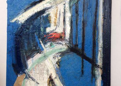 Woodland 1 - 76x122cm. Oil, paper, pen, charcoal on canvas.