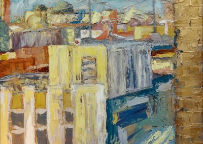 Wendy Rolt, Hackney Wick 2, Oil and Enamel on Canvas, SOLD