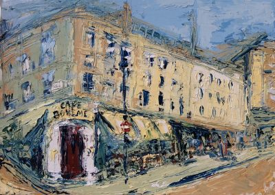 Wendy Rolt, Café Boheme, Oil on Canvas, SOLD