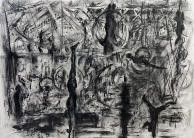 Circus Space, 59 x 84cm, Charcoal on Paper