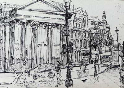 Trafalgar Square, 12 x 42cm, pen on Paper