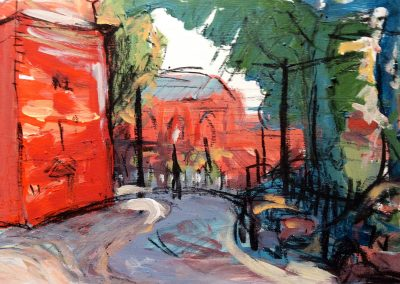 Wendy Rolt, Arnold Circus I, Acrylic & Charcoal on Board, SOLD